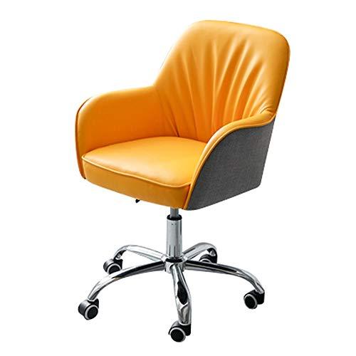 ZWQASP Silla giratoria de sillas de la PU, Silla ergonómica de la Oficina Media Trasera con el reposabrazos y Las Ruedas de 360 °, sillas de recepción Ajustables en Altura, para el Estudio