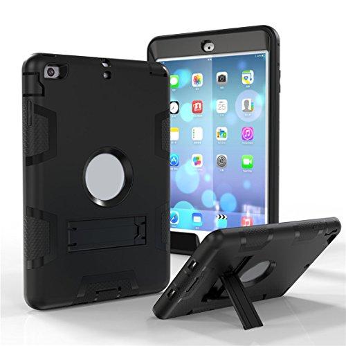 Outdoor Robuste Stoßfest Hülle mit Ständer für Apple iPad Mini 1/ 2/ 3 - Aohro 3in1 PC Plastik + Silikon Shockproof Schutzhülle Case Cover Bumper Etui,Schwarz + Schwarz