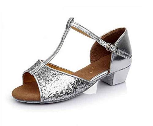 Scarpe da Ballo Latino Americano - Bambine - Ragazze - Danza - Ballroom - Colore Argento - Glitter - Taglia 32 EU - Idea Regalo Natale e Compleanno