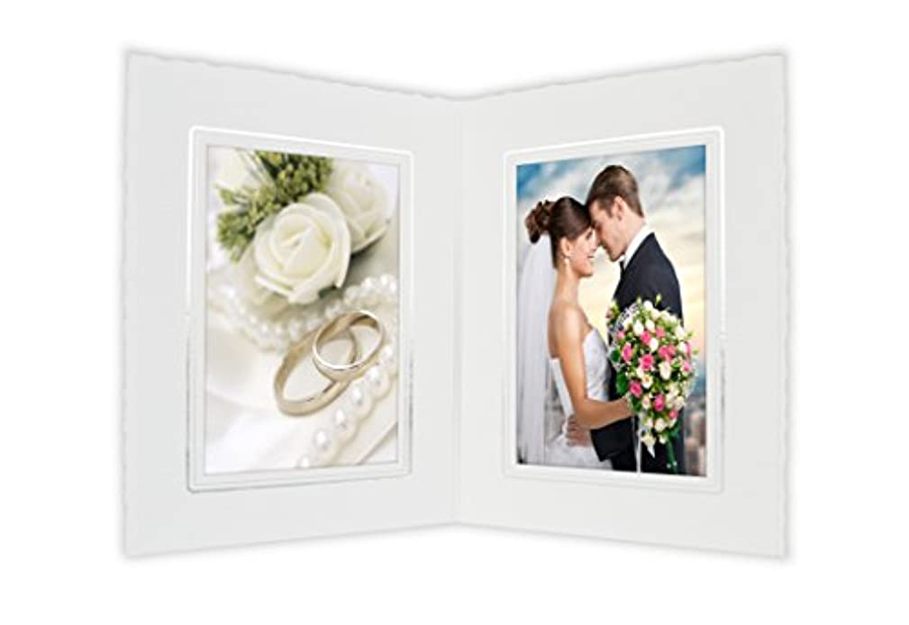 Golden State Art Cardboard Photo Folder for Double 4x6 Photo (Pack of 50) PF046 White with Silver Lining (White)
