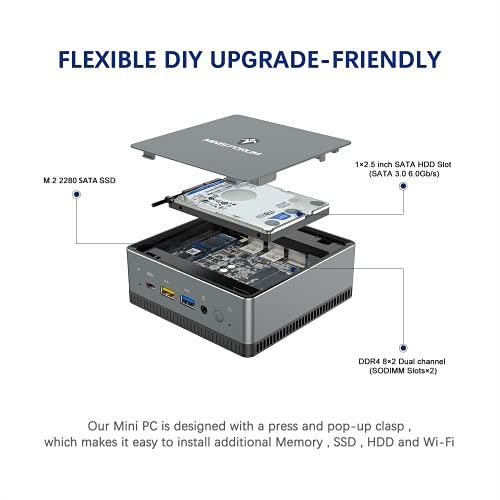 Upgraded UM250 Mini PC AMD Ryzen Embedded V1605B 4 Cores/8 Threads   16 GB RAM 512 GB SSD   Radeon Vega 8 Graphics   Windows 10 Pro   4K HDMI/Display/USB-C  2X RJ45 Gigabit BT5.1   4X USB