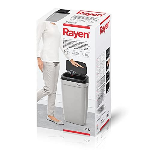 Rayen - Cubo automático con sensor de apertura, 30 L, 63.5 x 33.5 x 25 cm, Gris/Negro