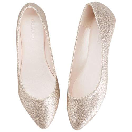 David's Bridal Allover Glitter Pointed Toe Flats Style Antonia, Gold, 10
