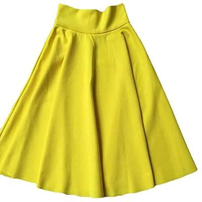 Womens Midi Skirt Casual High Waist A Line Pleated Skater Trumpet Skirt