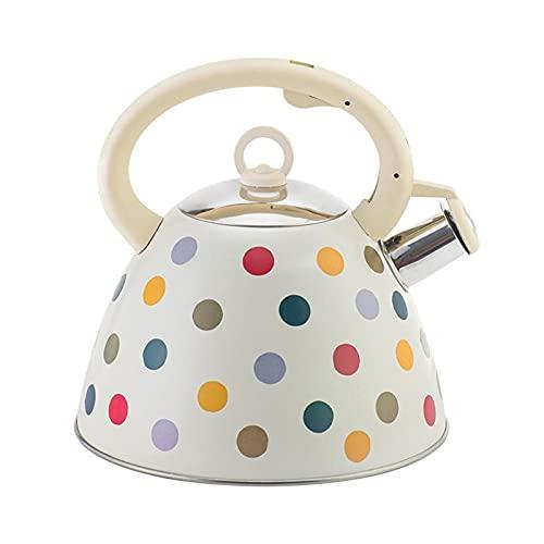 GDYJP Tetal de Silbato de 3L de silbido de Acero Inoxidable Kettle de té Camping Camping Cocina Pote de Agua Caliente con asa para la Cocina de inducción de Gas (Color : White, Tamaño : One Size)