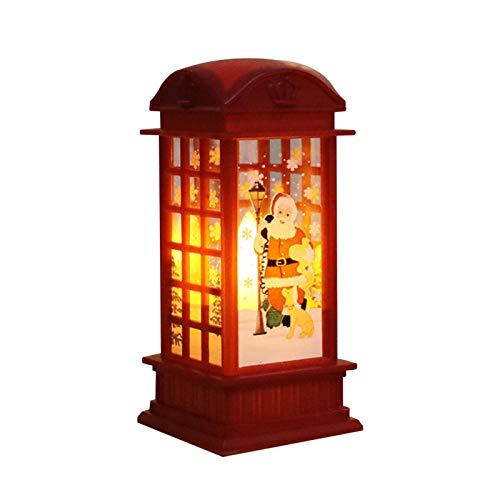 Linterna de escritorio de Navidad, linterna de Navidad, lámpara de velas sin fuego, innovadora luz nocturna pintada linterna, lámpara de decoración portátil, funciona con pilas