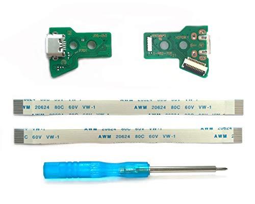 2x JDS-055 Scheda Porta di Ricarica Micro-USB per Controller PS4, Parte di Ricambio PlayStation 4 DualShock, Connettore dell'adattatore per Caricabatterie con Flex Ribbon Cavo Sostituzione