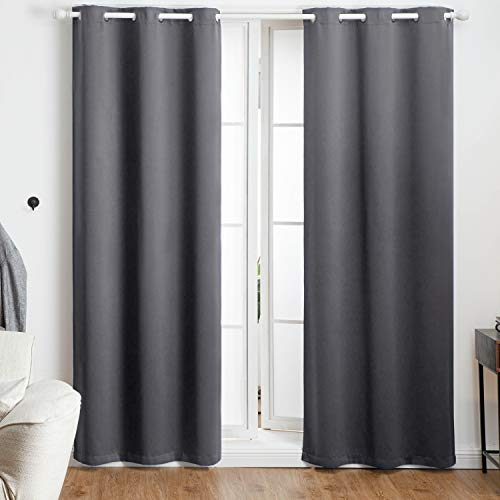 Bedsure Blackout Curtains 84 inch Length 2 Panel Sets -Grommet Curtains for Living Room-Thermal Insulated Curtains for Bedroom(42×84,Grey)