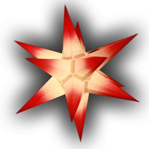 1 Papierstern weiß mit roten Spitzen Sternschmiede (Art.Nr.17), Durchmesser 19cm, handgefertigt, beleuchtet mit Netzteil für den Innenbereich