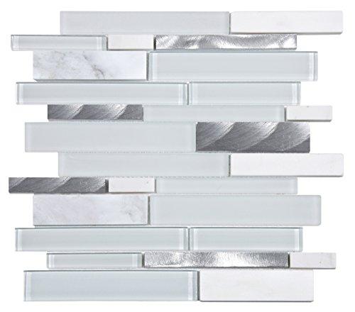 Mosaico de Vidrio y Mármol en Malla DEC-47082ASUSQZ , Blanco, 8 mm, 30 x 30 cm