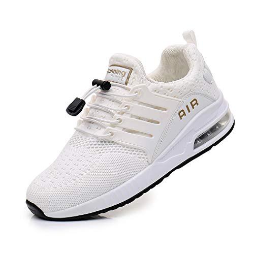 Zapatillas de Deporte Hombre Mujer Ligero Zapatos para Correr Respirable Running Bambas Calzado Deportivo Andar Crossfit Sneakers Gimnasio Casuales Fitness Outdoor Antideslizante White34