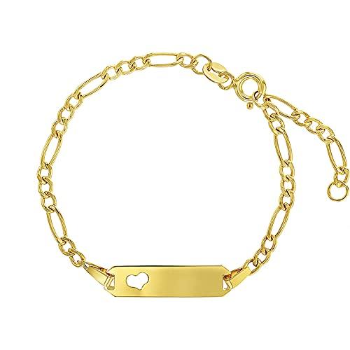 14k Yellow Gold Unisex Adjustable Girls Name ID Bracelet Engravable Heart Tag - Figaro Link Chain Rectangular Name Plate Bracelets for Babies & Children - Small Identification Bracelet