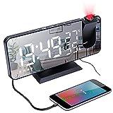 Despertador Proyector,Radio Reloj Despertador Digital con Proyección de 180° Giratorio,Carga...