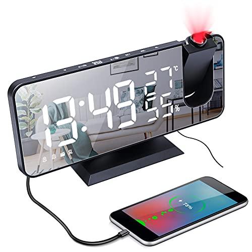 Despertador Proyector,Radio Reloj Despertador Digital con Proyección de 180° Giratorio,Carga USB,Alarma Dual,4 Brillo de Pantalla Ajustable,8' Pantalla LED,FM Radio,Función Snooze