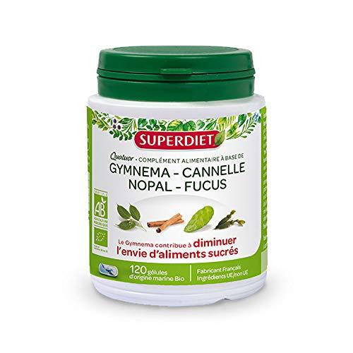 Super Diet Quatuor Gymnema Cannelle Nopal Fucus Bio 120 Gélules