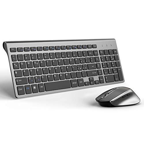 JOYACCESS Tastiera e Mouse,Stabile 2.4G Wireless Connessione,Slim Portatile Tastiera Wireless e Mouse Ergonomico Silenziosa da 2400 DPI per PC,Computer,Notebook,Laptop(QWERTY Italiano)-Nero e Grigio