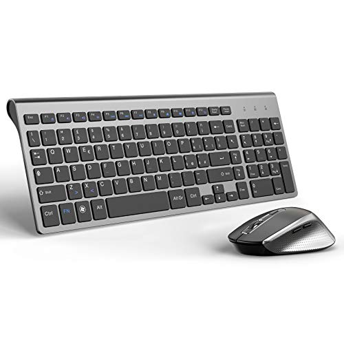 JOYACCESS Tastiera e Mouse,Stabile 2.4G Wireless Connessione,Slim Portatile Tastiera Wireless e Mouse Ergonomico Silenziosa da 2400 DPI per PC,Computer,Notebook,Laptop(QWERTY Italiano)-Nero e Grigio