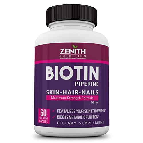 Zenith Nutrition Biotin 10000 mcg with Piperine 60 Caps| Hair Strong | Hair Growth