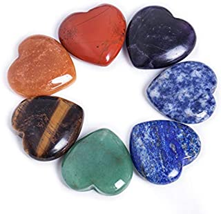 "AMOYSTONE 7 Chakra Heart Shaped Stones 1"" Sets Crystal Therapy Chakra Heart 7 Balancing Reiki Healing Meditation Massage E..."