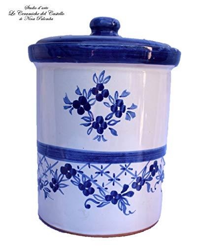 Barattolo Biscotti Pasta Linea Fiori Blu Ceramica Le Ceramiche del Castello Handmade Pezzi Unici Made in Italy Dimensioni 20 x 12 centimetri cadauno