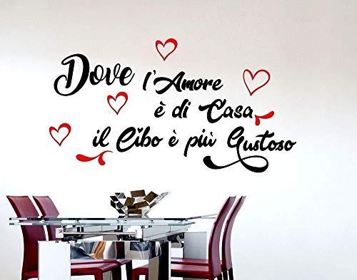 Adesivi murali frasi cucina amore casa il cibo è più Gustoso scritte italiano wall stickers cuoco 45 * 75cm