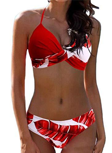 CheChury Maillot de Bain 2 Pièces Femmes Sexy Tie-Dyed Ensembles Bikini Push Up Rembourré Amincissant Triangle Bas Swimwear - A-Rouge - M