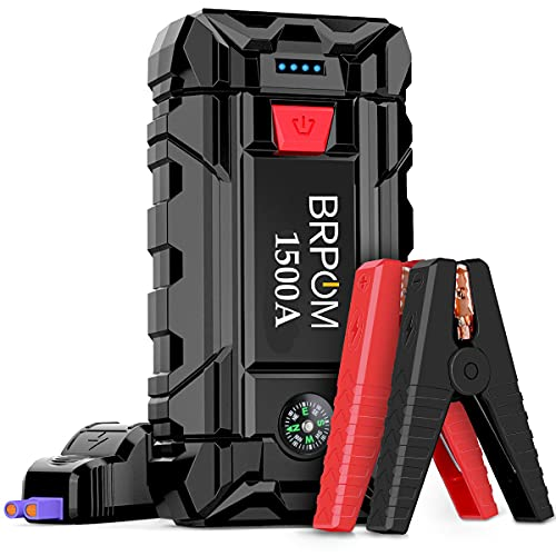 BRPOM Arrancador de Coches 15800mAh 1500A, 12V Arrancador de Baterias de Coche para 7.0L de Gasolina o 5.5L de Diesel,Pinzas Inteligentes y Linterna LED Carga Rápida QC3.0 Type C (1500A)