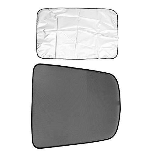 X AUTOHAUX Coche Negro Techo Sombra Cobertor Trasero Ventana Sol Sombra Paño Revestido Conjunto