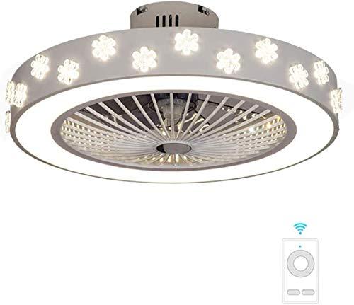 Luz Invisible Del Ventilador De Techo, Lámpara De Interior LED Moderna Con Control Remoto, Sala De Estar, Luz De Techo Minimalista Creativa, Blanco-56 Cm De Diámetro (Color : D)