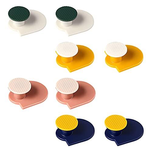 Morobor 8 ganchos de pared de plástico sin rastro sin tornillos, ganchos autoadhesivos sin perforación, gancho de pared adhesivo multicolor para cocina, baño, oficina