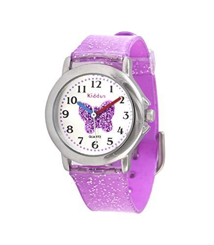 KIDDUS Modische Mädchenuhr für Kinder. Analoge Armbanduhr für Kinder mit Übungen zum Uhrzeit Lernen und hochwertigem japanischen Quarzwerk. Süß, stylisch, elegant und fabelhaft. FAB9 Schmetterling