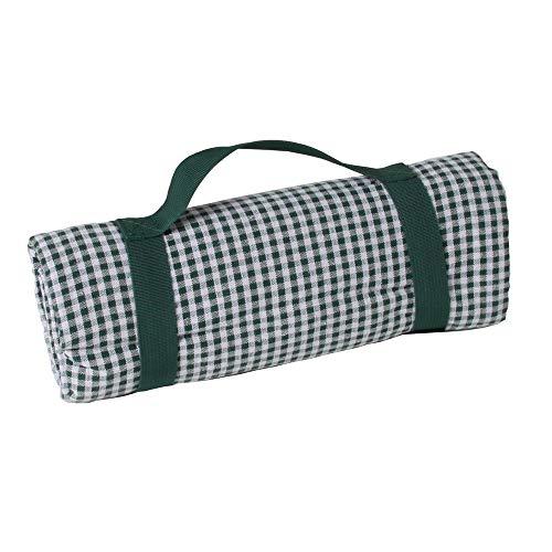Les Jardins de la Comtesse - Quadratische Dunkelgrün Karierte Picknickdecke - Baumwolle/beschichtete Rückseite Polyester - Faltbare Picknickdecke/tragbar mit mitgelieferter Halterung - 140 x 140 cm