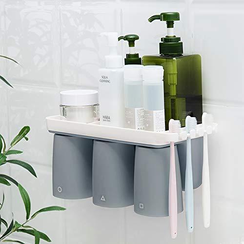 ToothbrushHolder Set, de Múltiples Fines PortacepillosdeDientesAdhesivo Montado En La Pared Sin Perforación 3 Taza Magnética Familiar Diseño Almacenamiento de Artículos de Tocador(Gris + Blanco)