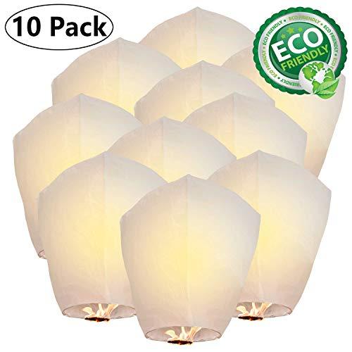 ANDERK Lot de 10 Lanternes Volante Chinoises pour Noël, Nouvel An, Wish Party & Mariages - Matériaux écologiques, ignifuges, 100% biodégradables