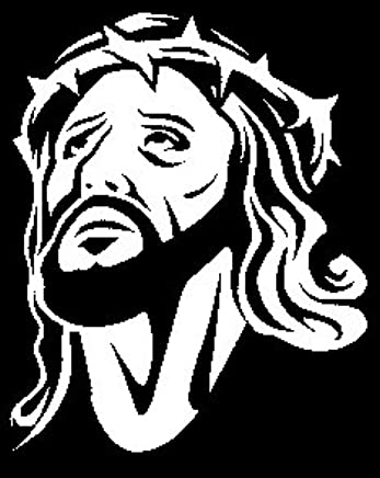 Jesus Christ Face Vinyl Decal Sticker | Cars Trucks Vans Walls Laptops Cups | White | 7.5 X 6.1 inches | KCD1509