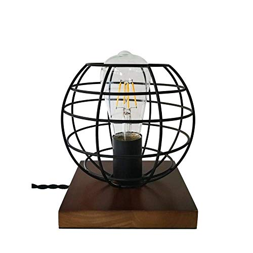 DKEE Dormitorio Europeo Mesita De Noche Moda Simple Decoración Creativa Pequeña Luz De Noche Madera Maciza De Hierro Forjado Pequeña Lámpara De Mesa Luces de Pared
