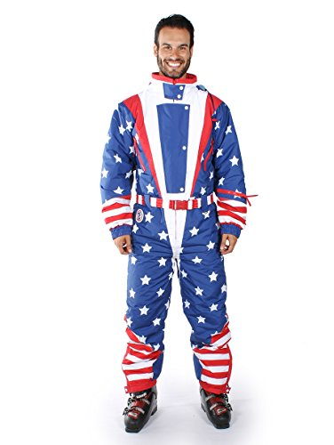 Tipsy Elves Americana Ski Suit - Stars and Stripes Retro Ski Suit: Medium