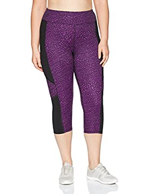 Just My Size Women's Plus Size Active Pieced Stretch Capri, Spot on Plum Dream/Black, 4X