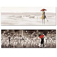 Abstract French Style Landscape Canvas Painting Wall Painting Print Poster Wall Art Bedroom Living Room Modern Home Decoration-50x150cm2pcs No Frame