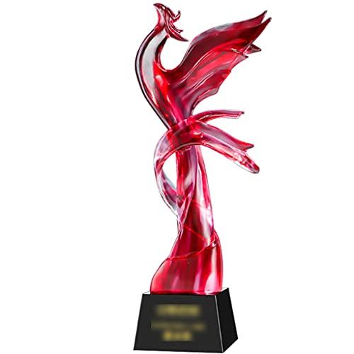 Trofeeën Trofee, Realistische Phoenix Winnende Beker, Handgemaakte Geglazuurde Souvenirs, Met Een Gunstige Betekenis, Gratis Aanpasbare Tekst (Color : Red, Size : 8 * 31cm)