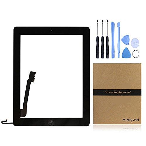 para iPad 4 Pantalla Táctil Digitalizador Panel Frontal Reemplazo de Reparación con botón Home, Herramientas y Adhesivo (Negro)