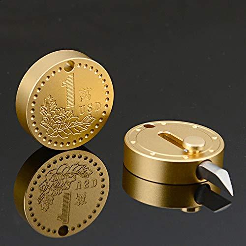 Breeezie - Herramienta de corte de acero inoxidable, multifunción, mini cuchillo de monedas EDC Mini llavero portátil colgante herramienta de corte, herramienta pequeña