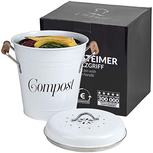 Komposteimer mit Deckel Küche 5L inkl. 2 Ersatzfilter - Biomülleimer Küche mit herausnehmbarem Inneneimer - Bio Mülleimer inkl. Kohlefilter - Bioabfallbehälter Vintage Mülleimer