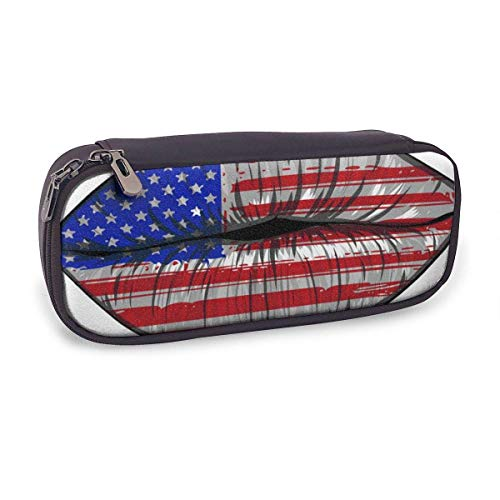 Pencil Case Pen Bag,Flags of The USA in Sensuality Lips Set Women,Large Capacity Pen Case Pencil Bag Stationery Pouch Pencil Holder Pouch with Big Compartments