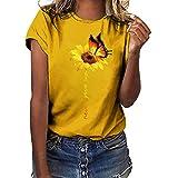 Camiseta Mujer Verano Moda Manga Corta Girasol Impresión Tallas Grandes Blusa Camisa Cuello Redondo Basica Camiseta Suelto Tops Casual Fiesta T-Shirt Original tee vpass (S-3XL)