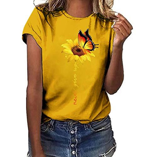 iHENGH Damen Top Bluse Bequem Lässig Mode T-Shirt Frühling Sommer Blusen Frauen Kurzarm kalte Schulter Leopard Print-Shirts lose Pullover lässig Top(Gelb, 2XL)