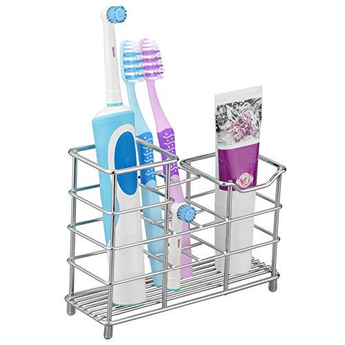 BasicForm Supporto Orizzontale Acciaio Inox Elettrico Spazzolino da Denti e Dentifricio Ripiano Toilette Bagno (1 pezzof)