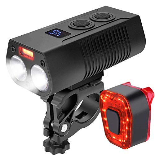 USB Rechargeable Bike Light Set, Waterproof 4 Modes Bicycle Front Headlight and 5 Modes Back Taillight Set, Easy to Install for Men Women Kids Road Mountain Cycling