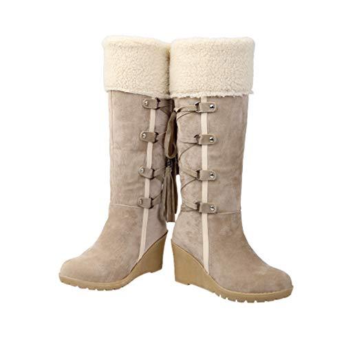 Happyyami Kolanówki damskie zimowe koturn buty z frędzlami z podszewką z futra zamszowe szerokie botki na łydki czarne beżowe brązowe, - BEŻOWY - 37 EU