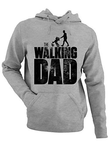 clothinx Herren Kapuzenpullover - The Walking Dad - Baby - Papa Hoodie Geschenkidee für werdenden Vater zur Geburt Vatertagsgeschenk Grau/Schwarz Größe M